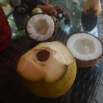 Fresh coconut water and ripe coconut to eat