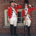 Costumed characters at site of Boston Massacre