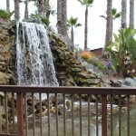 Waterfall outside of Barefoot Grill and Caveman Pizza