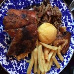 Ribs, Brisket, Pork Belly, Fries, and a Cornbread muffin