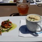 Crabcake, Clam Chowder & Beer at Bluewater Avalon Seafood Restaurant