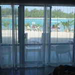 View of beach and lagoon from inside the room