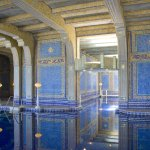 Many of the Murano glass tiles in the indoor pool are decorated with gold flake.
