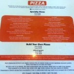 pizza menu page for Holt's