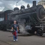 Donnie waiting for the steam locomotive to head out of town.
