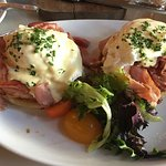 Eggs Benedict with country ham, enough for two!