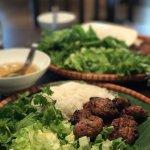 "BÚN CHẢ HÀ NỘI- HANOI's grilled marinated pork with vermicelli, salad and fish sauce ""NUÓC MẮM"""