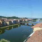 View of the Arno river from the roof top deck