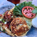 Flavorless crab cake and so-so loaded fries