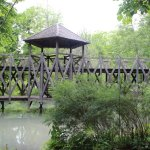 A bridge in the garden with geometric shapes
