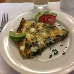 Frittatta with greens and goat cheese