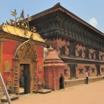 Palace of 55 Windows in Bhaktapur's Durbar Square with the Golden Gate next to it