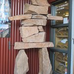 Inukshuk in front of one of the shops