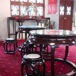Inside the Tea House near the counter