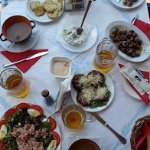 Fried snails, tuna salad