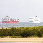 Ships passing very close to the shore