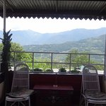 Sitting area overlooking the mountains