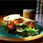 Delicious vegetarian sandwich on locally crafted bread.
