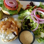 French Onion burger and salad