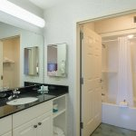 Large vanity space and over sized showers
