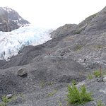 people in the foreground offer the scale of Exit Glacier