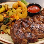 Charbroiled Rib-eye with Root Vegetable Blend