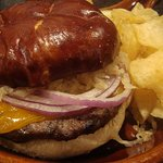 Wisconwich Burger. Local brat patty, 2 year cheddar on a pretzel roll.