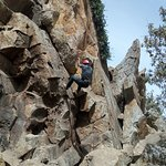 Climbing down the rocky tower using a single rope is such a superb experience