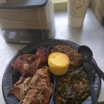 BBQ Pork, BBQ Chicken, Collards, Yams & Cornbread