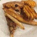 Hamburger and French fries pizza