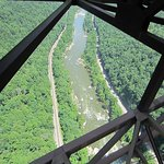 A view of the New River and the Gorge as seen from the catwalk.