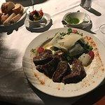 Calamari e scampi arrosti and Bistecca Venezzia. Really delicious.