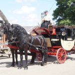 Visiting coach outside the Royal Oak at Fritham