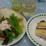 A prawn sandwich and victoria sponge