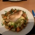 Cod, (No Hake on the evening) butternut squash, creamed leeks, sauted potatoes and pesto sauce.
