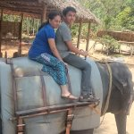 Just starting the trip on the elephant