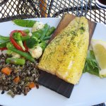 Planked trout, rice pilaf and mixed vegetables