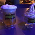Butterbeer and butterbeer ice cream in the souvenir cups