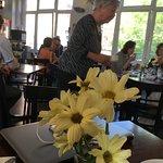 Fresh flowers at breakfast - self-serve buffet.