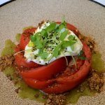 Local Hothouse Tomato Salad,  Burrata, Burnt Tortilla Crumble, Cilantro,  Tomatillo Salsa