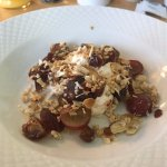 First course of Sunday's breakfast - homemade Moroccan yogurt with grapes, granola and honey