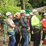 The briefing before the zip line adventure.