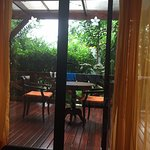 Our secluded deck as seen from the bed