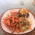 Burger with sweet potato fries and island salad