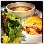 Puckett's Tomato Pie with Caesar Salad and Spiked Onion Soup!