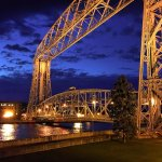 The view from our canal side room balcony at night, South Pier Inn, Duluth, MN