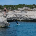 cliff jumping at West Caicos