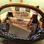 Our Welcome basket wishing us a happy honeymoon! All stuff in the basket came from local busines