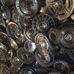 Part of the ceiling is covered in hubcaps. Ask the manager for the story.