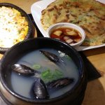 Free Side Dishes (Cheesy Corn, Korean Pancake, & Mussel Soup)